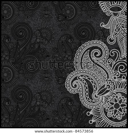 black and white floral pattern - stock vector