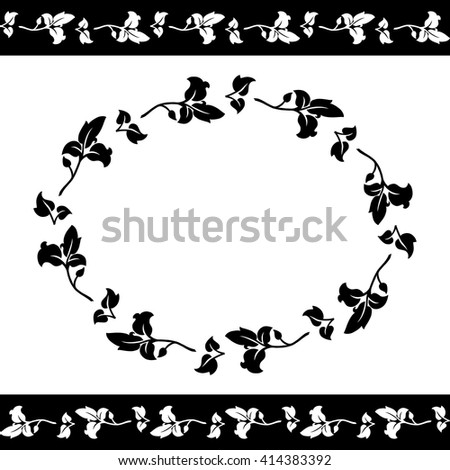 Black and white floral pattern. Freese and oval frame of leaves. Vector illustration. - stock vector
