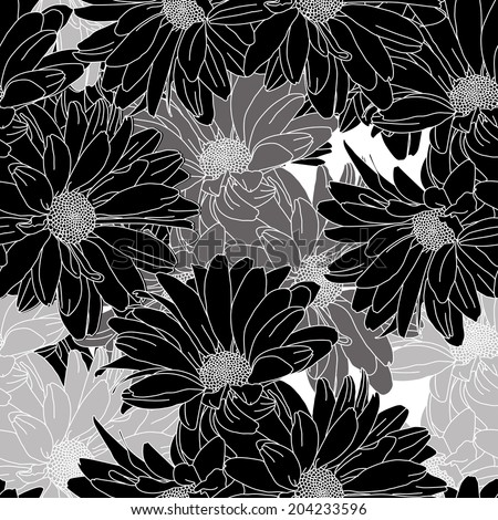 Black and White Floral pattern seamless, Eps 10 - stock vector