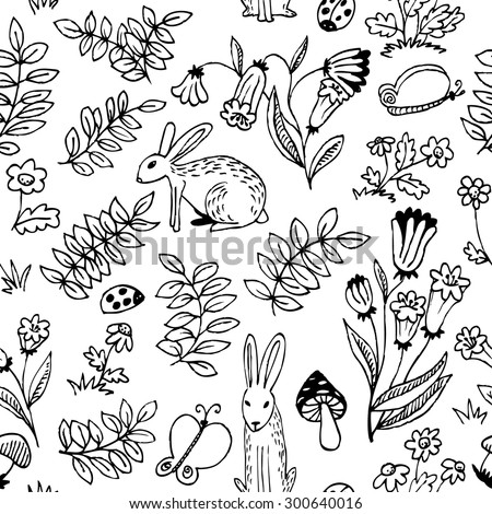 Black and white floral seamless pattern - stock vector