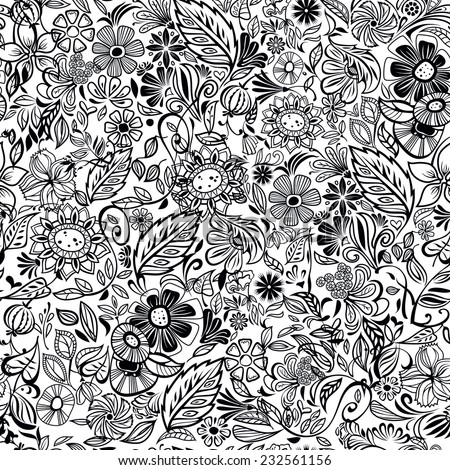 black and white floral seamless pattern, vector illustration - stock vector
