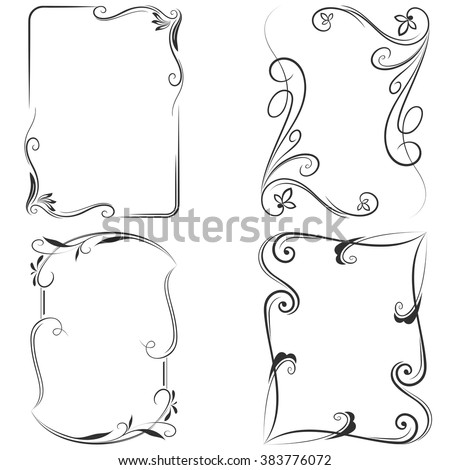 Black and white floral vector frame templates. - stock vector