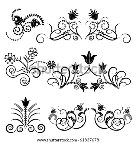 Black and white floral vector set. - stock vector