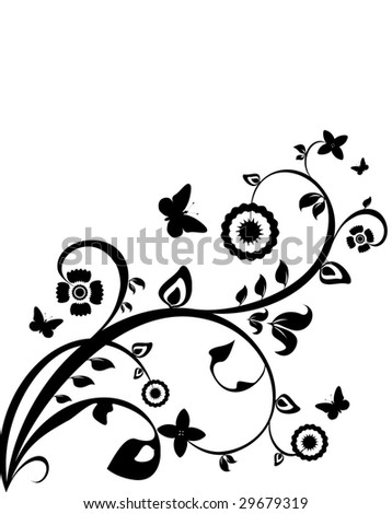 Black-and-white flower background. Vector illustration. - stock vector