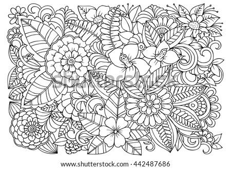 Zentangle Floral Doodles Black White Coloring Stock Vector ...