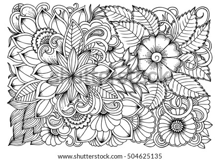 Black White Flower Pattern Coloring Doodle Stock Vector 504625135 ...