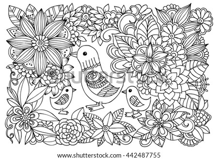 Black white flower pattern ducks coloring stock vector for Therapeutic coloring pages for children
