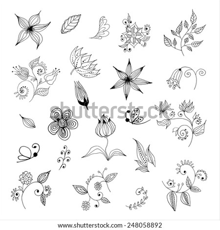Black-and-white flowers and leaves design element - stock vector