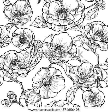Black white flowers camelliavector seamless pattern stok vektr black and white flowers camelliactor seamless pattern mightylinksfo