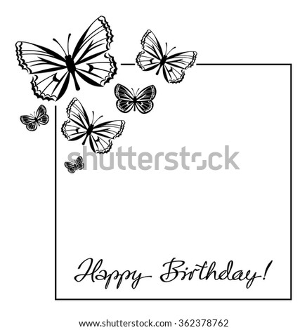 Black White Frame Butterflies Silhouettes Stock Vector (Royalty Free ...
