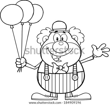 Black and White Funny Clown Cartoon Character With Balloons And Waving. Vector Illustration Isolated on white - stock vector