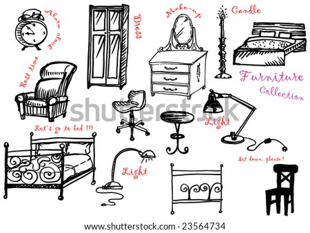 black and white furniture collection - stock vector