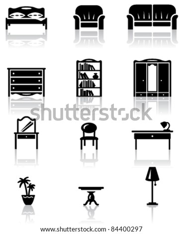 Black and white furniture icons set - stock vector