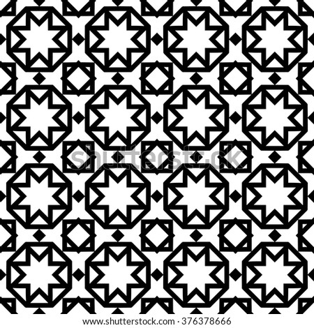 Black and white geometric background seamless pattern, repeating monochrome fabric texture. Tribal ethnic arabic, indian ornament, vector decorative graphic illustration - stock vector