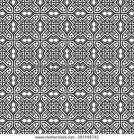 Black and white geometric background seamless pattern, repeating monochrome fabric texture. Tribal ethnic ornament, vector decorative graphic illustration