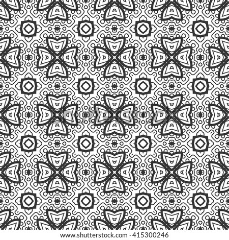 Black and white geometric floral seamless pattern, monochrome sketchy background. Tribal ethnic ornament, decoration repeating texture endless pattern, vector illustration - stock vector