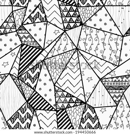 Black and White Geometric Hand-drawn Abstract Seamless Background Pattern with Polygons and Cute Patterns Inside Them. Vector Illustration. Pattern Swatch is Available - stock vector