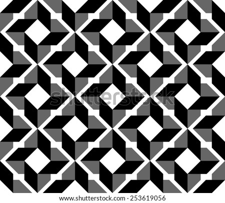 Black and white geometric seamless pattern, abstract background, vector, illustration. - stock vector
