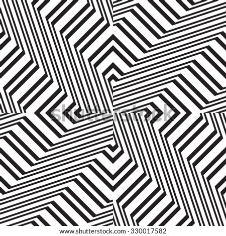 Black and white geometric seamless pattern. Simple regular background. Vector illustration with herringbone or puzzle