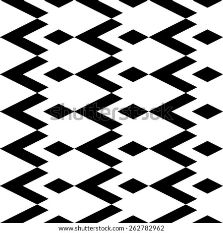 Black and white geometric seamless pattern with diamond. Abstract background. Vector seamless pattern. - stock vector