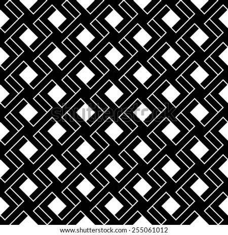 Black and white geometric seamless pattern with line and interlace style, abstract background, vector, illustration. - stock vector