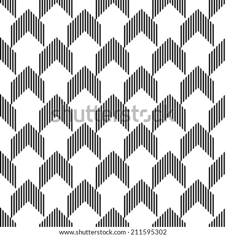 Black and white geometric seamless pattern with stripe and triangle abstract background, vector. - stock vector