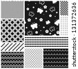 Black and white geometric seamless patterns set (vector version) - stock photo