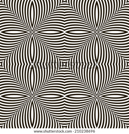 Black and White Geometric Vector Shimmering Optical Illusion. Modern Flickering Effect. Op Art Design