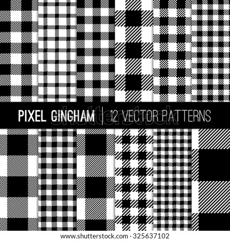 Black and White Gingham Patterns and Buffalo Check Plaid Patterns. Modern Pixel Gingham Patterns of Different Styles. Vector EPS File Pattern Swatches made with Global Colors. - stock vector