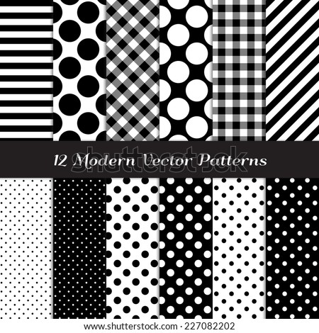 Black and White Gingham, Polka Dot and Candy Stripes Patterns. Modern Geometric Backgrounds. Vector Pattern Swatches made with Global Colors. - stock vector
