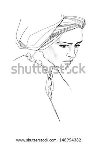 Black and white girls portrait - stock vector