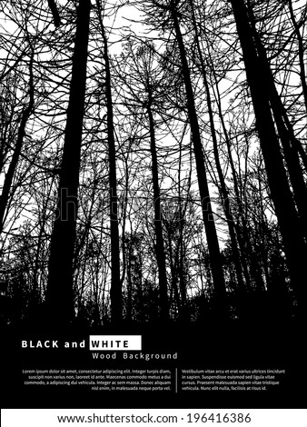 Black and white graphic background with trees. Vector illustration - stock vector