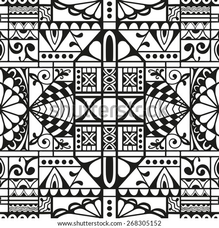 Black and white graphic seamless pattern. Hand drawn ethnic tribal ornament. Vector geometric background - stock vector