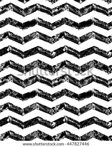 Black and white grunge chevron geometric seamless pattern, vector - stock vector