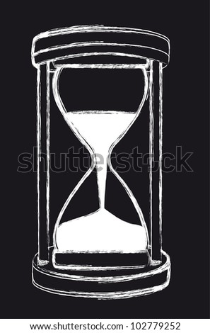 black and white grunge hourglass, background. vector illustration - stock vector