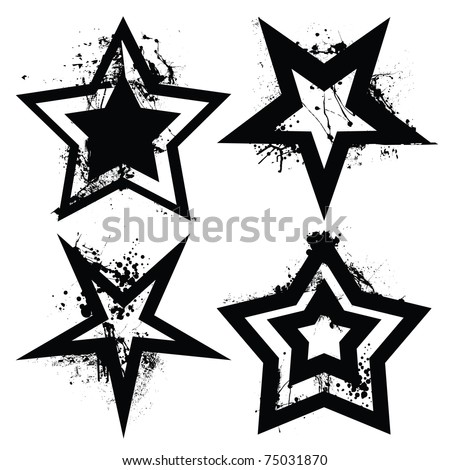 Black and white grunge star collection with ink splats and roller marks - stock vector