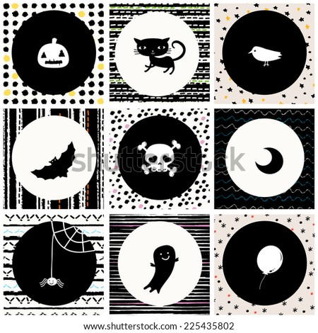 black and white Halloween background with cat, skull, crow, moon, pumpkin, bat, spider, ghost and balloon - stock vector