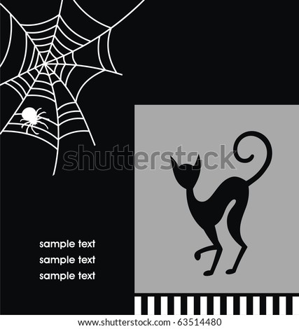 Black and white Halloween card with a silhouette of a cat. Vector illustration - stock vector