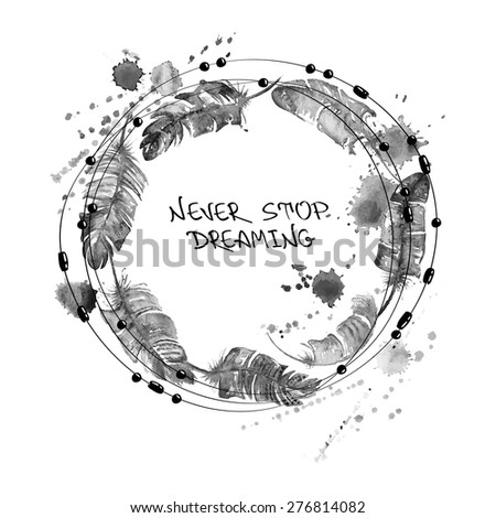 Black and white hand drawn watercolor illustration with bird feathers and beads in a form of circle. - stock vector