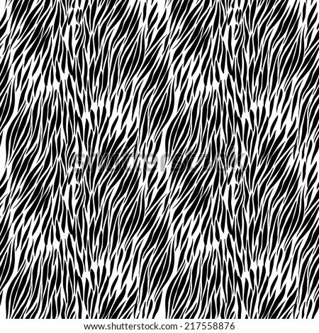 Black and white hand drawn zebra seamless background for presentatons and textures. vector - stock vector
