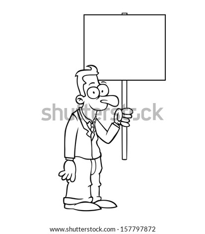 Black and white happy business man holding empty protest sign. - stock vector