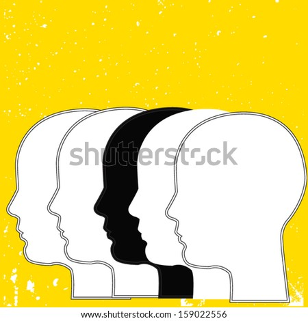 black and white heads on yellow background - stock vector