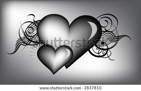 black and white hearts - stock vector