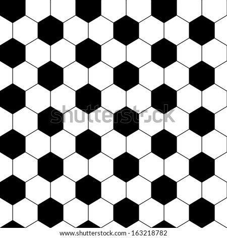 Black and white hexagon soccer ball seamless pattern, vector - stock vector