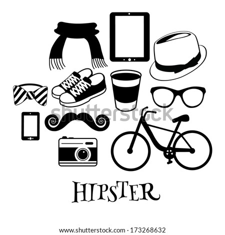 Black and white Hipster design elements. EPS 10 vector, grouped for easy editing. No open shapes or paths. - stock vector