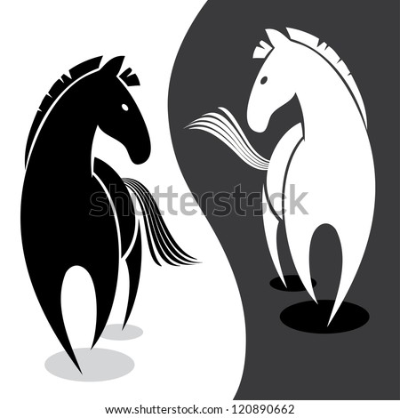 Black and white horse - vector illustration - stock vector