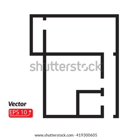 Black white house apartment plan house stock vector hd royalty free black and white house apartment plan house home building architecture blueprint icon eps10 vector illustration malvernweather Images