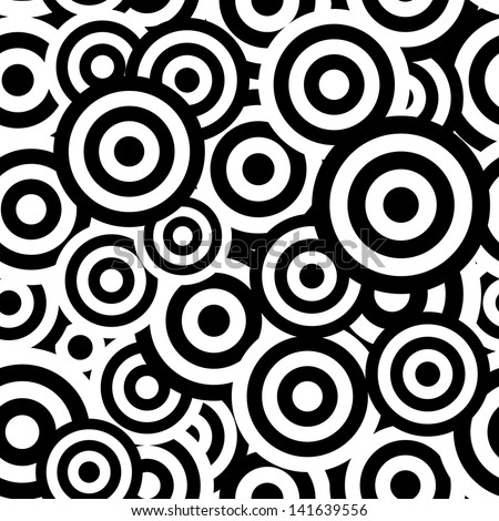 Black and white hypnotic seamless pattern background. Vector illustration - stock vector
