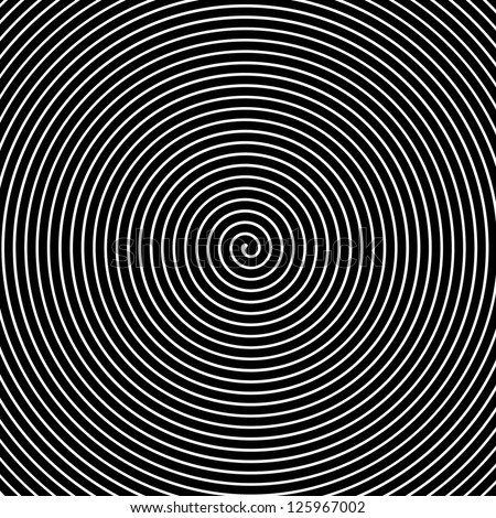 Black and white hypnotic vector background - stock vector