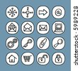 black and white icon set - internet symbols - others of same series : http://www.shutterstock.com/lightboxes.mhtml?lightbox_id=829090 - stock vector
